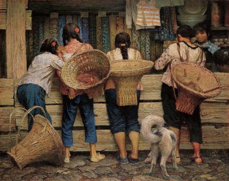 01a-Zhu Yiyong, Tienda del pueblo, 132x160 cm., 1981-OK